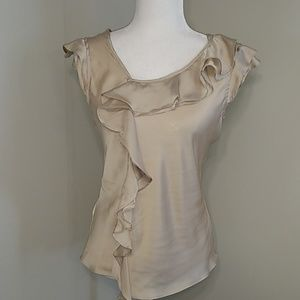 Sunny Leigh Creamy Taupe Ruffle Career Top S